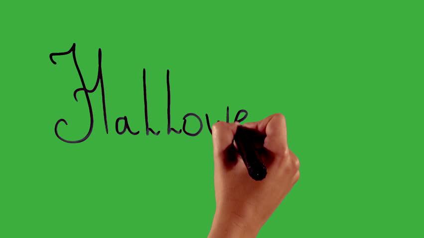 halloween hand writing on green screen - Halloween Writing Font
