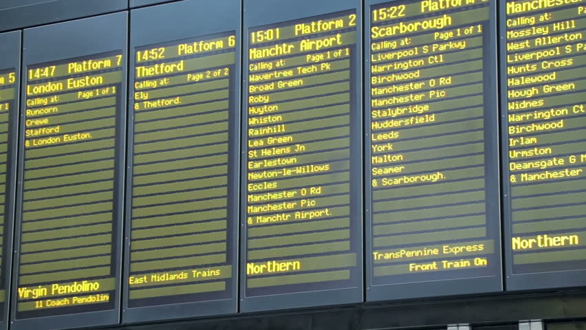 Liverpool Lime Street Railway Station Train Departure Notice Board