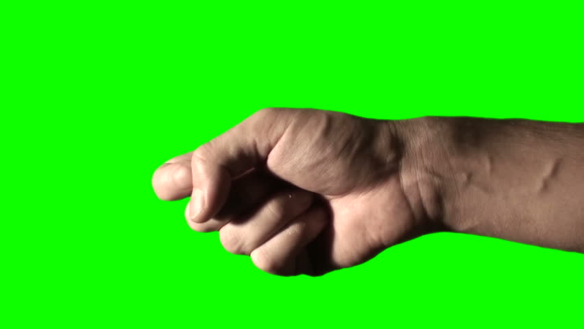 hand points - green screen