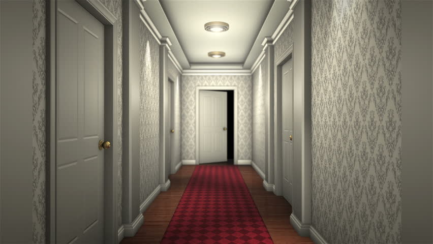 scary hotel hallway camera traveling high definition - HD stock video clip