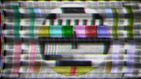Analogue old CRT TV test card with color bars, full of noise, static, grain, scanlines. Good as: background, intro, transition, screen saver, dvd menu.