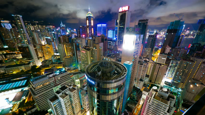 Hong Kong at night from roof. 4k UHD, timelapse | Shutterstock HD Video #5359226