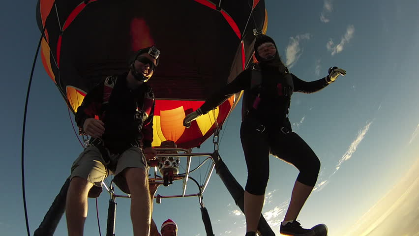 Skydiving from hot air balloon | Shutterstock HD Video #5362976