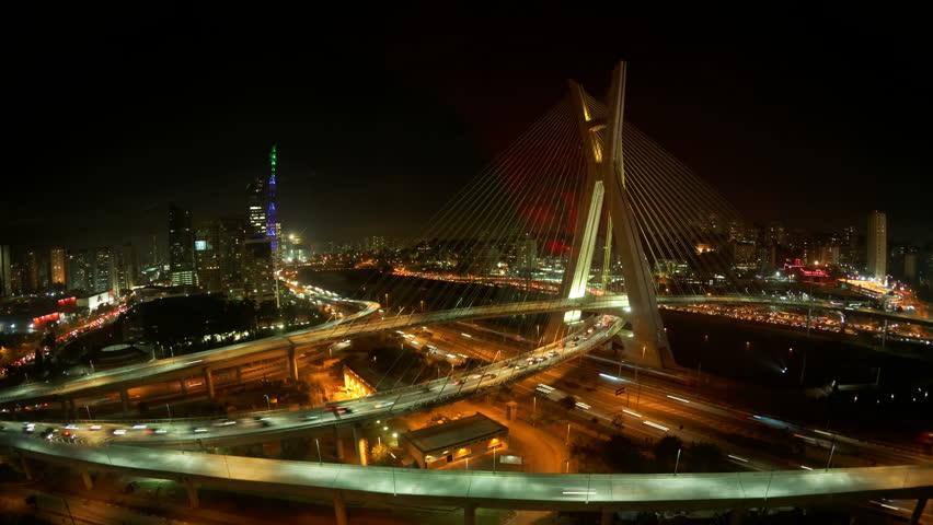 Sao Paulo, BRAZIL - CIRCA 2013: 4K UHD Ponte Estaiada bridge built over the Pinheiros River