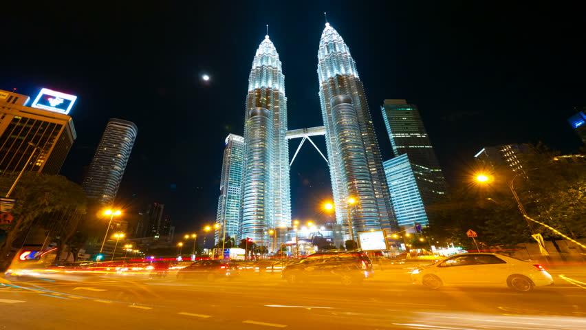 KUALA LUMPUR, MALAYSIA, 7 MAY, 2012: 4k UHD, hyperlapse. View on Petronas towers.
