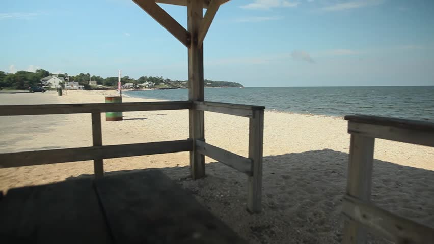 View of beach from within gazebo (2 of 4)