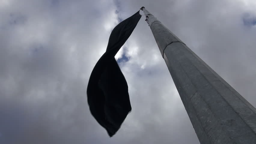 A black flag indicates a period of mourning is going on, as part of the Muharram and Ashura period, in Iran