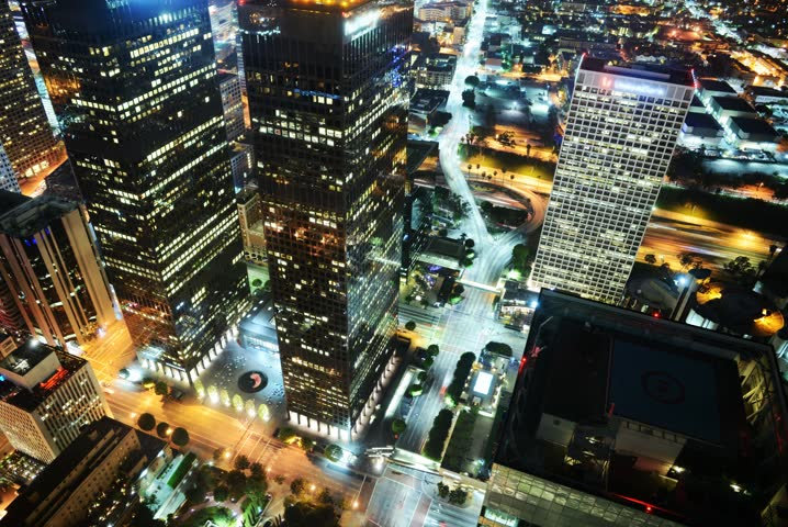 4K Night Cityscape Time Lapse of Downtown Los Angeles  | Shutterstock HD Video #5408156
