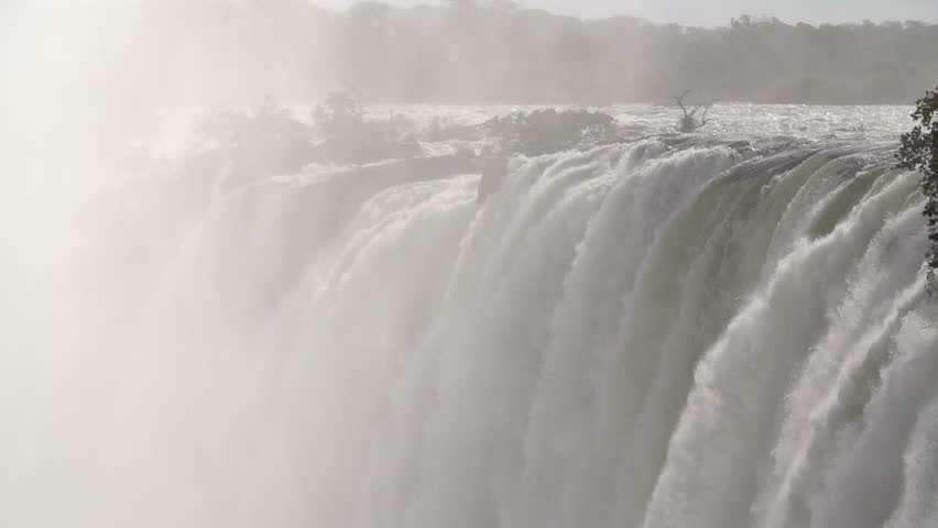 Slow pan down of Victoria Falls in slow motion #5411456