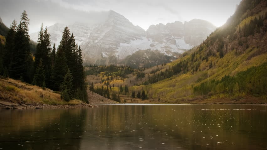 (1119) Autumn Early Snow Storm - Maroon Bells Colorado Mountains and Aspens. Great for themes of nature, travel, wilderness, seasons, weather, mountains, exploration, outdoor recreation, adventure.