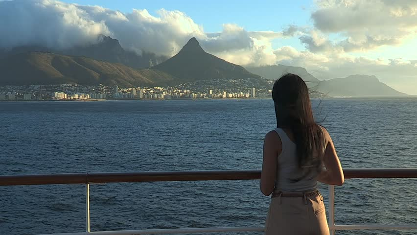 Hotels In Atlantic City >> Medium Shot Of Girl Watching The Cape Town Peninsula From ...