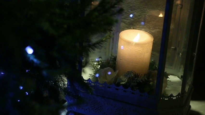 candle lamp and christmas tree hd stock video clip