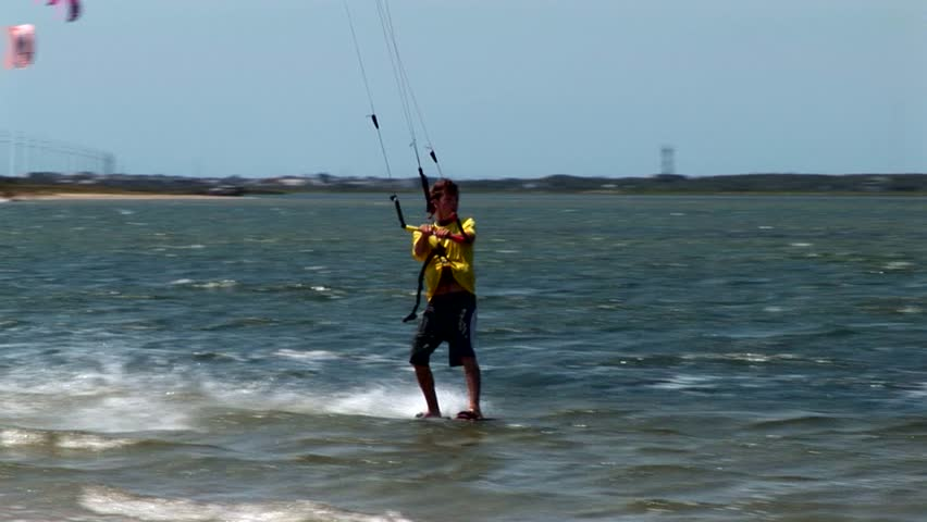 Outer Banks,- North Carolina - 2010:  Kite surfing on the Outer Banks of North Carolina on a perfect sunny summer day.