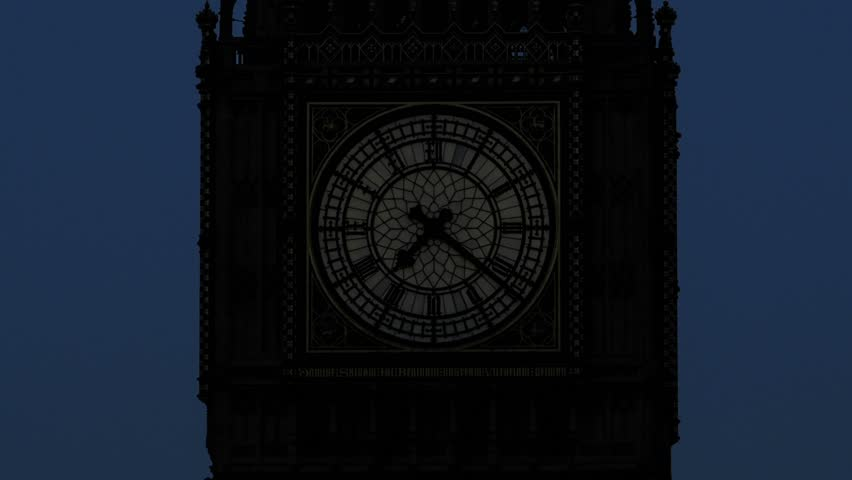 Zooming out Time lapse of the clock on the North Tower of the Houses of Parliament in London. Better known as Big Ben. Time lapse runs for an hour from before dawn to just after 8 o'clock . 4K version #5432753