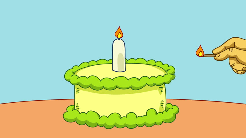 Animated Cartoon Birthday Candles Flickering Against A