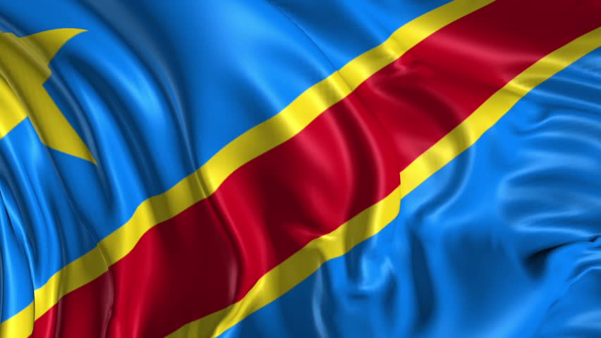 stock video clip of flag of democratic republic of congo