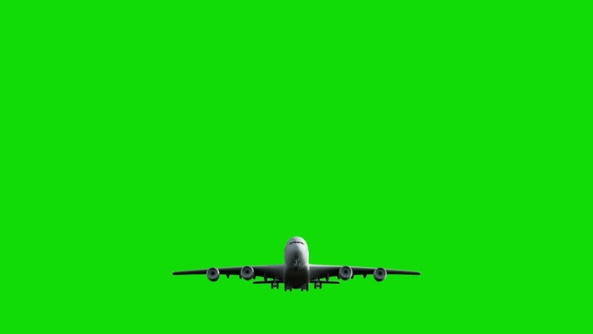 Computer rendering of the flying jumbo jet plane with green screen.