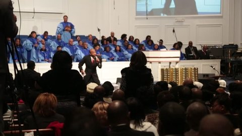 Memphis, TN - Circa 2013 - African/American church members enjoy the pastor's message in Memphis, TN