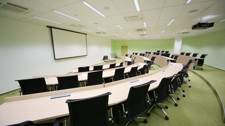 Modern University Classroom ~ Handheld shot of an empty university lecture hall the