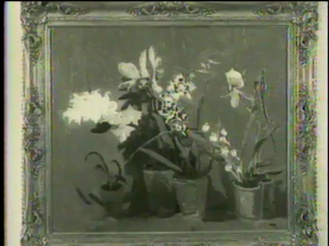 """Orchids"", ""Mimizan Plage, Landes"", ""Bottlescape"", by Winston Churchill at Smithsonian Institution, Washington D.C. circa 1958 - MGM PICTURES, UNIVERSAL-INTERNATIONAL NEWSREEL, USA, filmed in 1958"