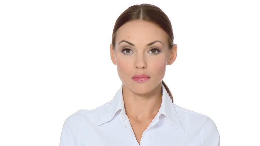 Beautiful young businesswoman showing thumb down    Shutterstock HD Video #548533