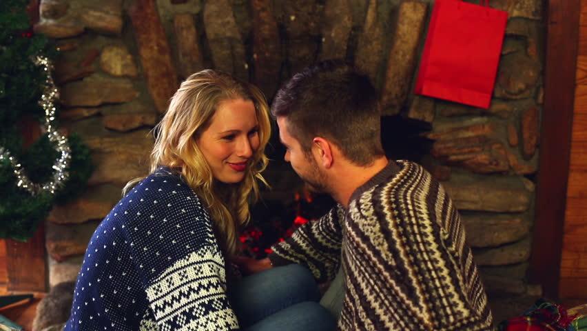 Stock Video Na Tema Cute Couple Celebrating Christmas Together