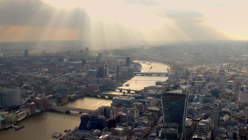 4K Aerial shot of Central London with view of the River Thames, London Eye, Blackfriars, Tate Modern, Blackfriars, St Paul's Cathedral