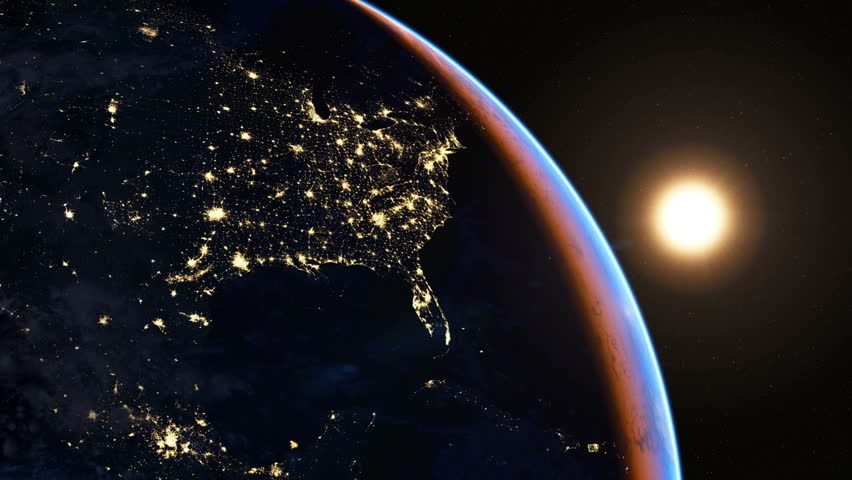 North America at night. Extremely detailed image, including elements furnished by NASA. 3d animation with some light sources, reflections and post-processing. Earth maps courtesy of NASA  | Shutterstock HD Video #5530862