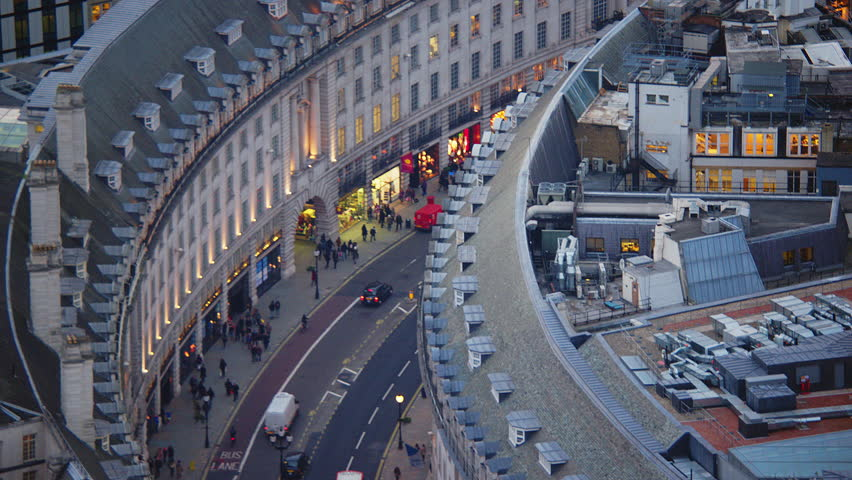 4K Aerial shot of Central London with view of Regent Street