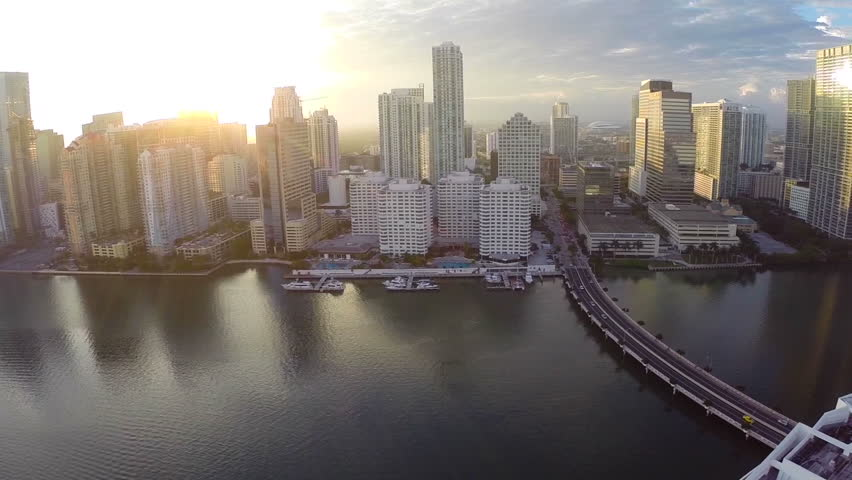 Aerial video of Brickell at sunset | Shutterstock HD Video #5536934