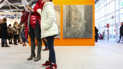 BOLOGNA, ITALY - January 26, 2014: Artefiera 2014 artefiera 2014 INTERNATIONAL EXHIBITION OF CONTEMPORARY ART in Bologna. He made a record 47500 visitors about 15% more than in 2013. Time Lapse.