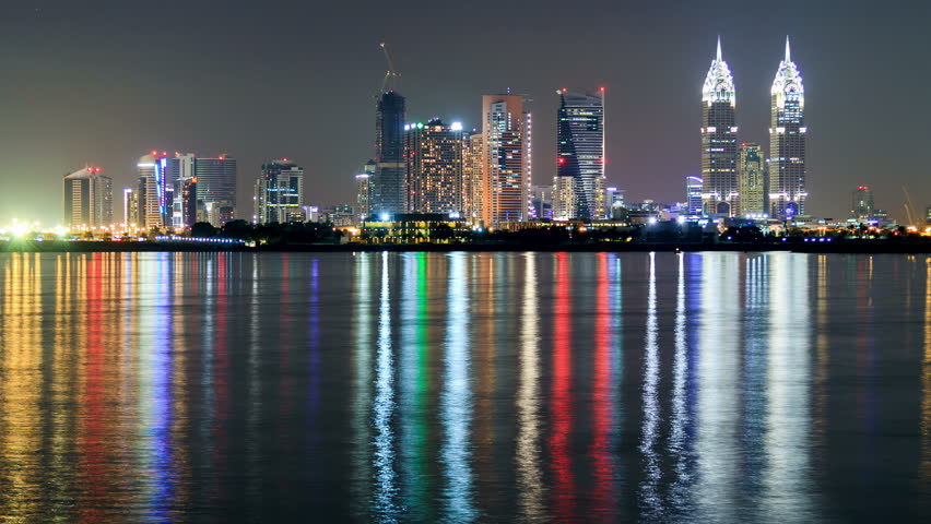 Night city Dubai coast time lapse