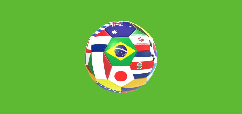 3D render of rotating soccer football on green screen background