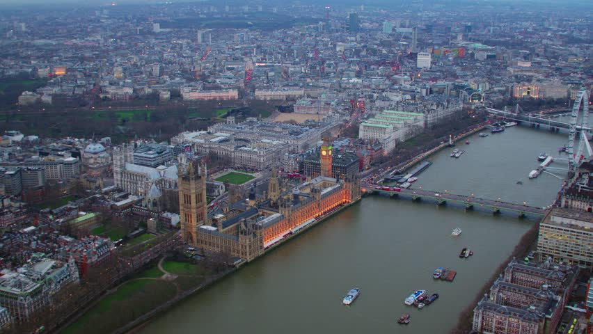 Aerial view of Houses of Parliament, River Thames