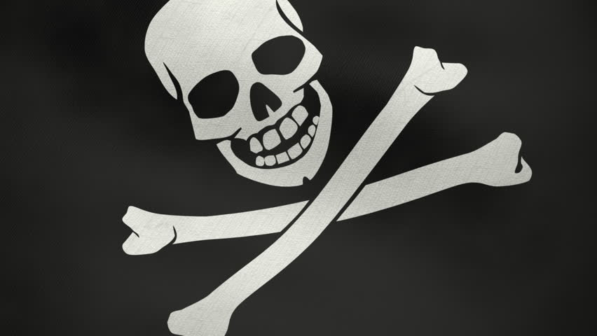 Pirate flag waving in loop, ready to be used as infinite footage or as background. Full frame closeup on the flag. Created in 3D with a highly detailed texture of the fabric.
