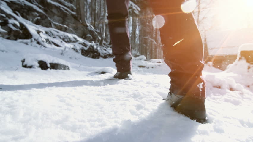 foot feet steeps. hiking walking. slow motion. snow winter landscape. recreation activity. holiday vacation tourism. people persons. outdoors sports | Shutterstock Video #5594651