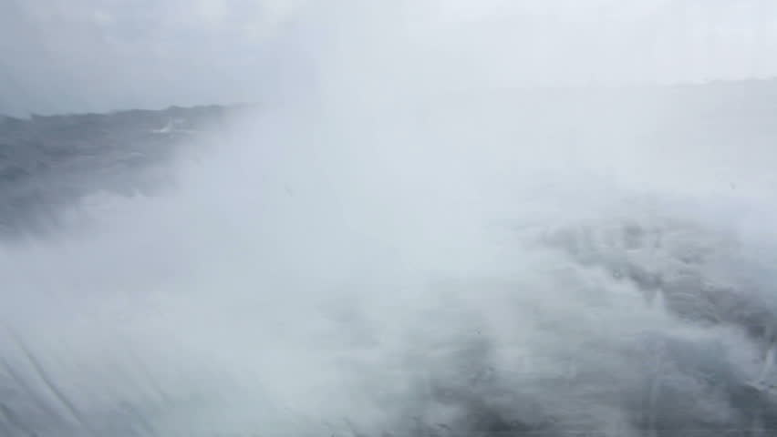 view on swell from a boat during stormy weather