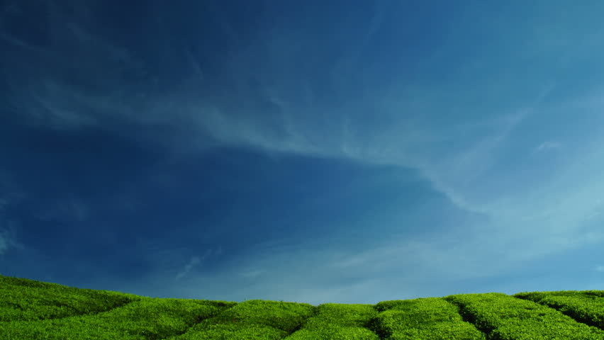 Time lapse of clouds moving above the tea farm.