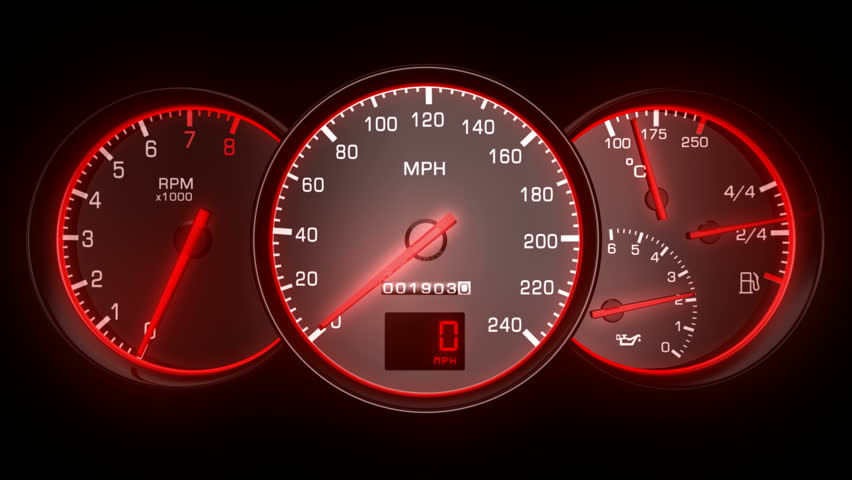 Revving Speedometer And Tachometer Stock Footage Video ...