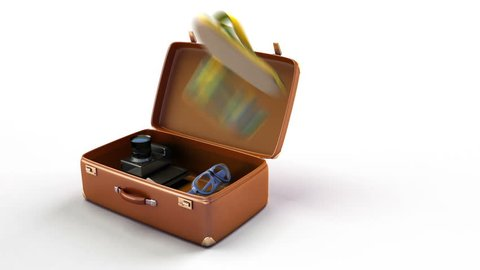 Conceptual travel 3d animation. Camera, laptop, shorts, fins, sunglasses fly into a suitcase. The suitcase changes to a car and rides by world map.