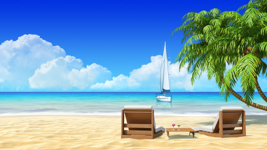 Romantic Pictures Of Tropical Beaches: Romantic Couple Resting On Sunbed At Maldives Seaside