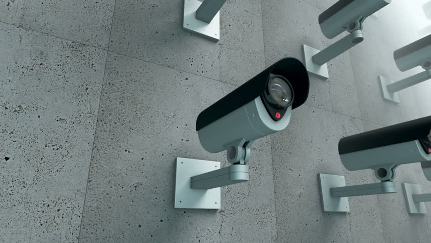 Animation of multiple Security cameras watching. Loop ready clip.