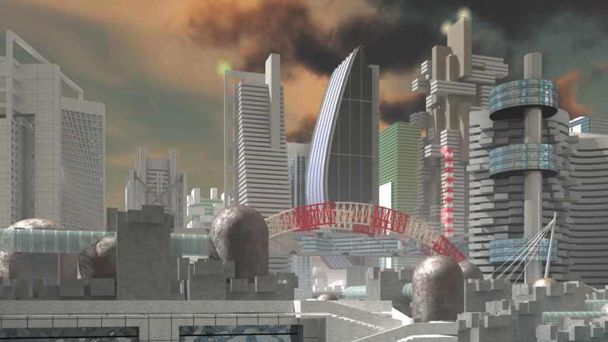 HD Fly over 3d Model of Sci-Fi city  with futuristic architecture and skyscrapers