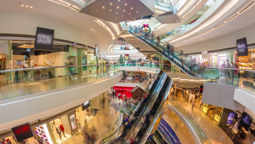 Hyperlapse video of a busy shopping mall #5643716