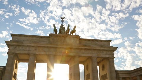 Brandenburg Gate or Brandenburger Tor in Berlin, Germany is a famous national landmark and tourist attraction at Unter den Linden, in the Mitte part of the German capitol City.
