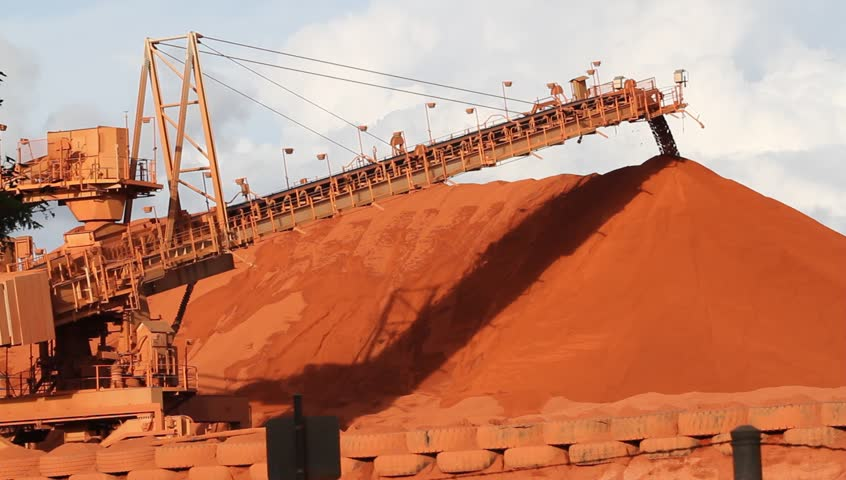 Piles of mining Bauxite in Weipa, Queensland, Australia Bauxite is an aluminum ore and is the main source of aluminum.