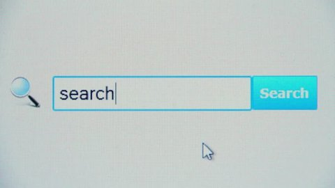 Search - browser search query, Internet web page. User makes search, enters query into browser using favorite search engine, pressing button and waiting for search results to appear