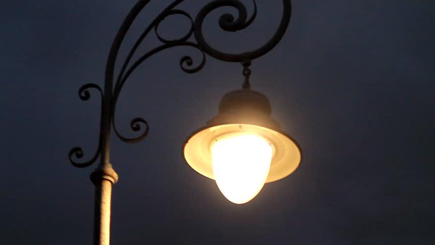 Lantern shining by night close up