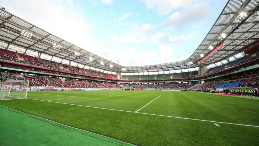 MOSCOW, RUSSIA - SEP 7, 2012: Playing field and grandstands before game Russian team against Northern Ireland on Lokomotiv Stadium. Match ended 2-0 in favor of Russia.