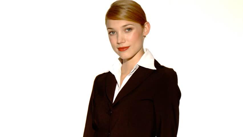 Beautiful young businesswoman showing thumb down    Shutterstock HD Video #571072